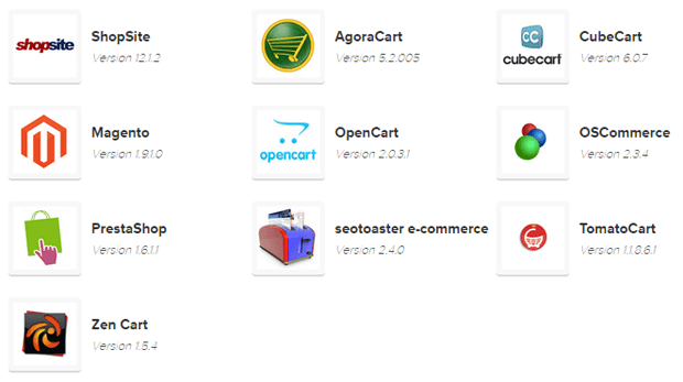 Shopping Carts available with Bluehost hosting