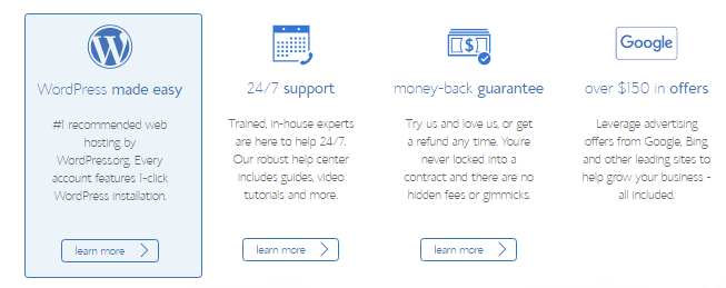 Bluehost - Important features